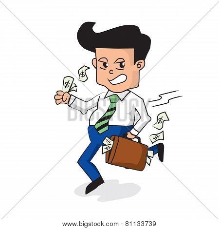Businessman Holding A Fully Money Briefcase