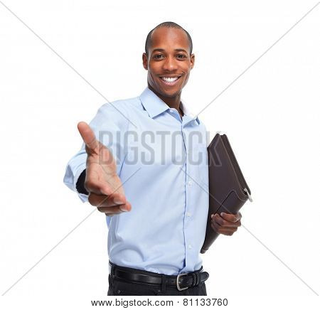 African-American businessman handshake isolated white background