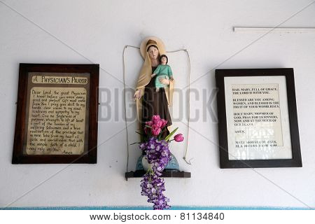 KOLKATA, INDIA - FEBRUARY 12: Virgin Mary with baby Jesus, Prem Dan, one of the houses established by Mother Teresa and run by the Missionaries of Charity in Kolkata, India on February 12, 2014.