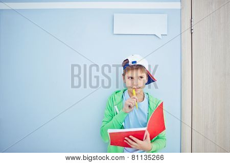 Pensive lad with exercise-book