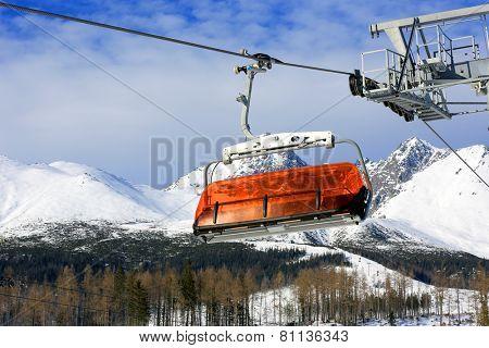 Ski-lift on winter resort in Slovakian Tatra mountains