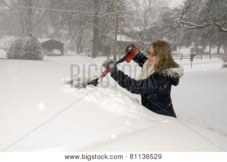 Shoveling Snow Scraping Car Windshield