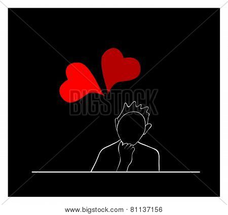 Happy Woman Sitting With Lovely Red Hearts