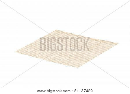 Brown Bamboo Mat On A White Background