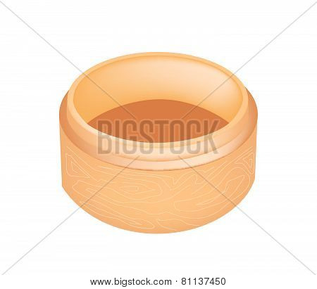 Dim Sum Bamboo Basket On White Background