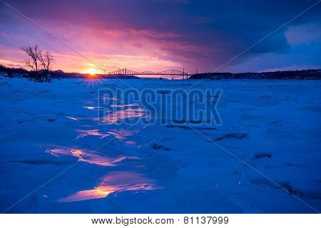 Cold winter sunset