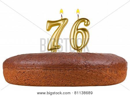 Birthday Cake Candles Number 76 Isolated