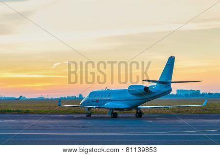 Business jet at the airport.