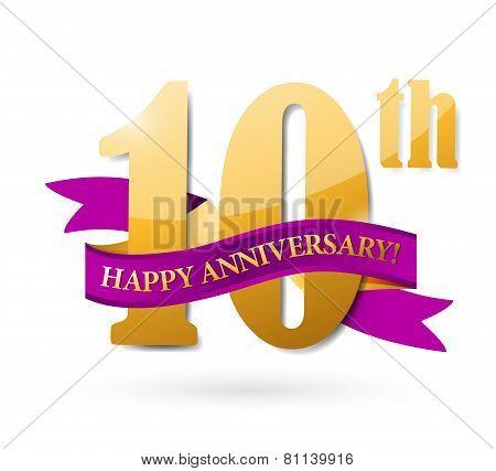 10Th Anniversary Ribbon Illustration Design