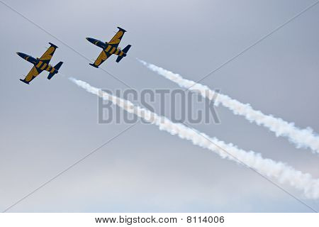 Zhukovskiy, Russia - 22 August, 2009: Civil Airplanes Making Aerobatic Manoeuvres At Intenratiol Air