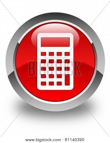 Calculator Icon Glossy Red Round Button