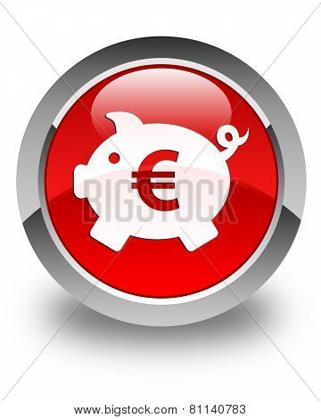Money Box (euro Sign) Icon Glossy Red Round Button
