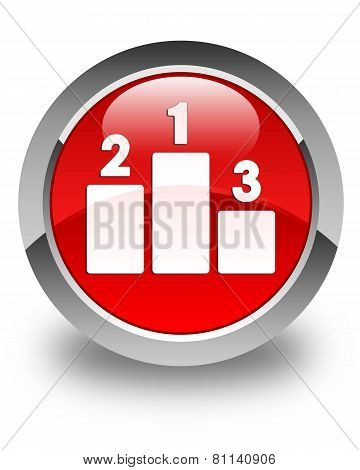 Podium Icon Glossy Red Round Button