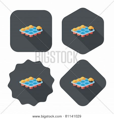 Kitchenware Baking Plate Flat Icon With Long Shadow,eps10
