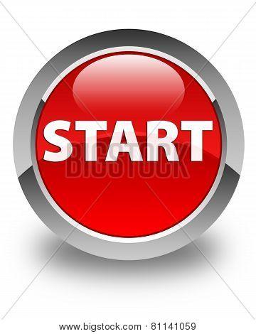 Start Glossy Red Round Button