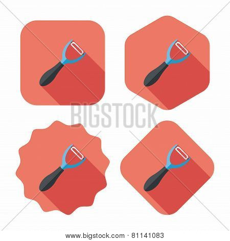 Kitchenware Peeler Flat Icon With Long Shadow,eps10