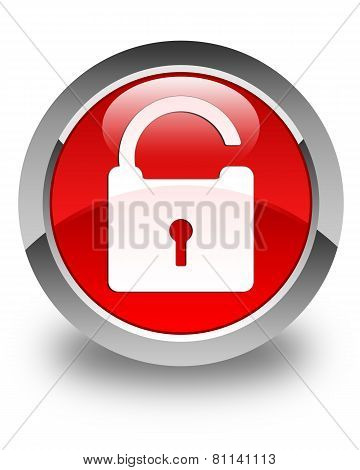 Unlock Icon Glossy Red Round Button