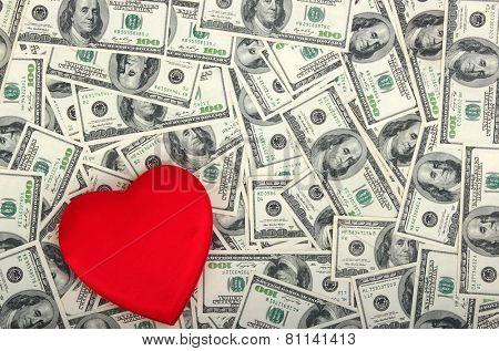 red heart on the dolar background