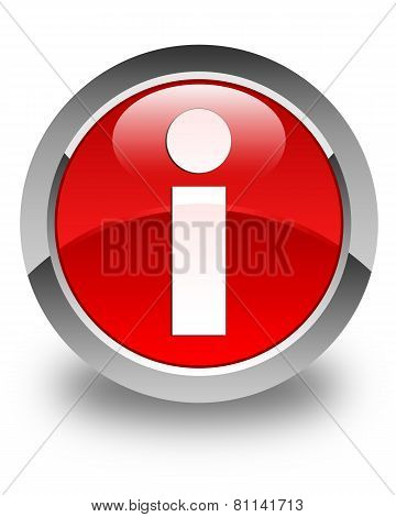 Info Icon Glossy Red Round Button
