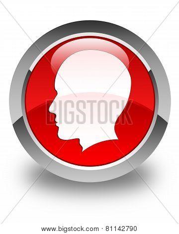 Head Icon (men) Glossy Red Round Button