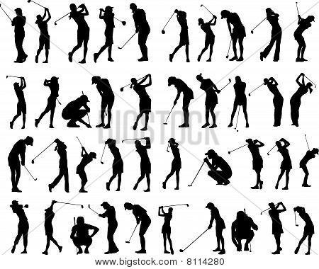 40 female Golfer poses