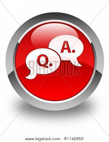 Question Answer Bubble Icon Glossy Red Round Button