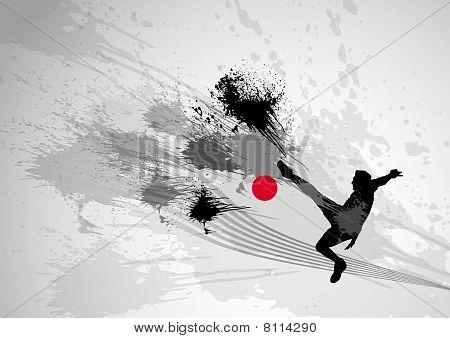 Stylish power football kick with dynamic splash