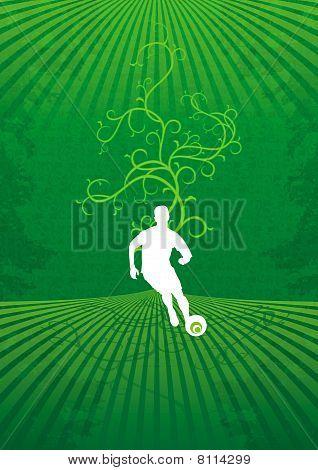 stylish football player with beautiful flora background
