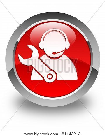 Tech Support Icon Glossy Red Round Button