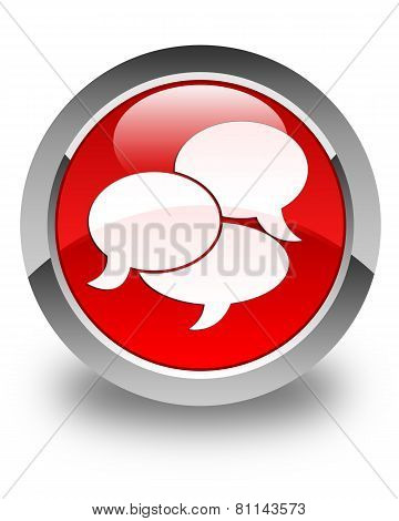 Comments Icon Glossy Red Round Button