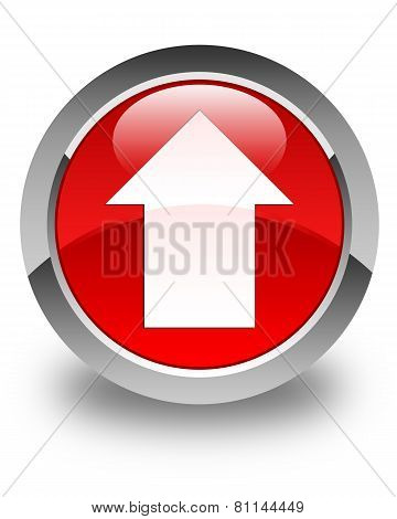 Upload Arrow Icon Glossy Red Round Button