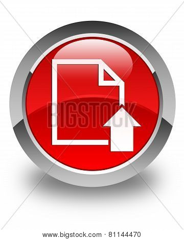 Upload Document Icon Glossy Red Round Button