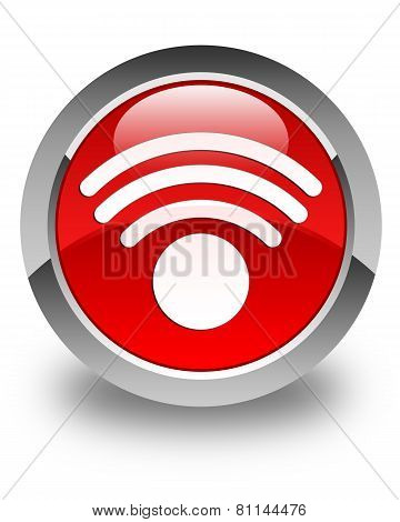 Wifi Signal Network Icon Glossy Red Round Button