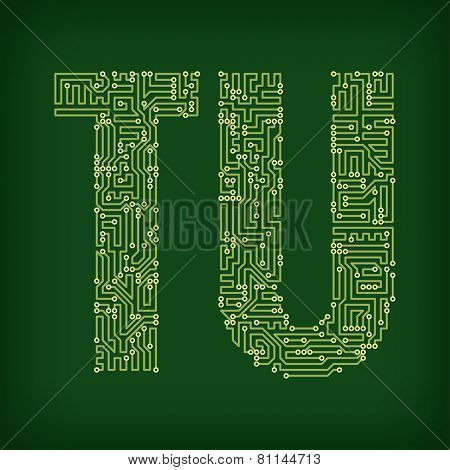 Letters made of tracks printed circuit boards