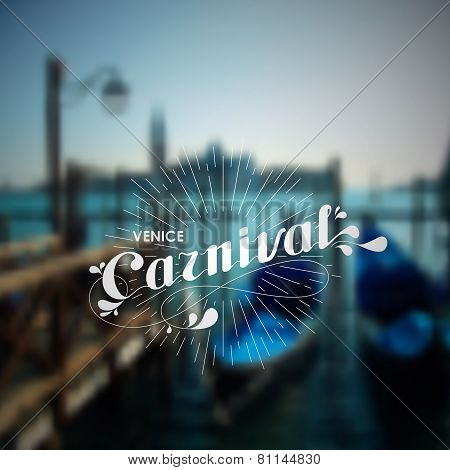 vector holiday illustration of blurred Venice cityscape with ornate typographic label and light rays