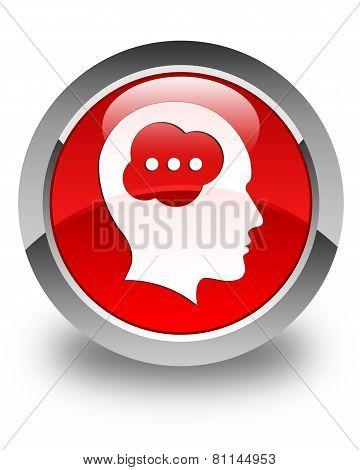 Brain Head Icon Glossy Red Round Button