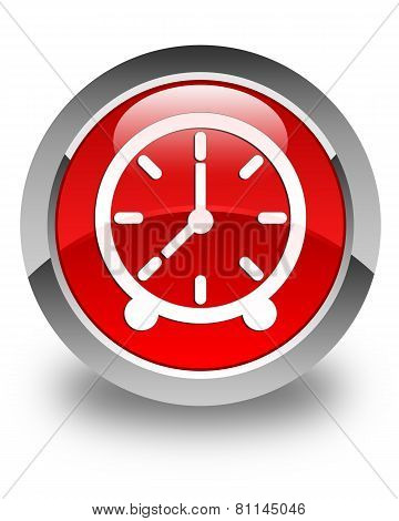 Clock Icon Glossy Red Round Button
