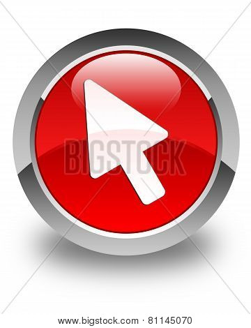 Cursor Icon Glossy Red Round Button