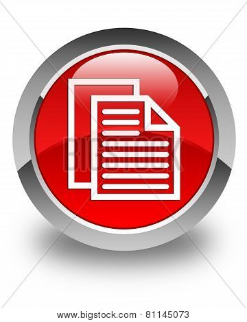 Document Pages Icon Glossy Red Round Button