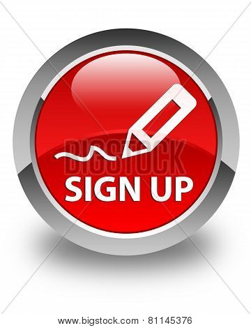 Sign Up Glossy Red Round Button