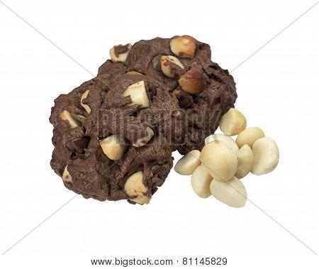 Macadamia Cookies Isolated On White