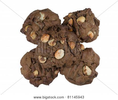 Pile Of Chocolate Cookies Isolated