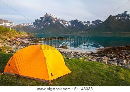 tourist tent on lakeside