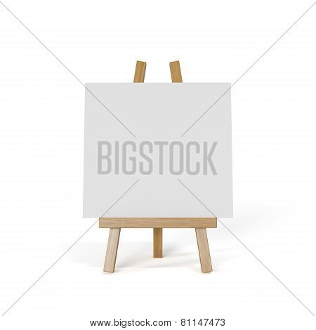 White Canvas On An Easel Isolated On White Background