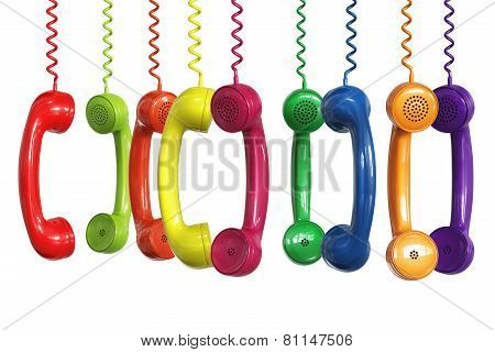 Different Colors Phone Receivers Hanging