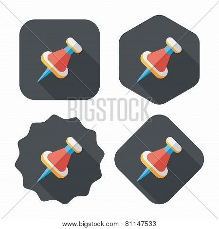Push Pin Flat Icon With Long Shadow, eps10