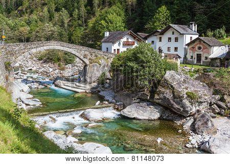 The Stone Bridge In Arvigo