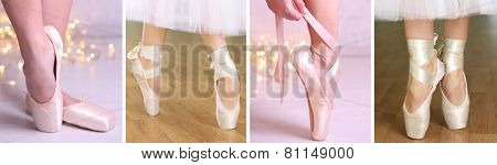 Collage of ballerina legs in pointes in dancing hall