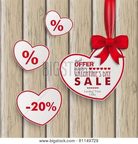 White Sale Hearts Red Ribbon Wooden Background
