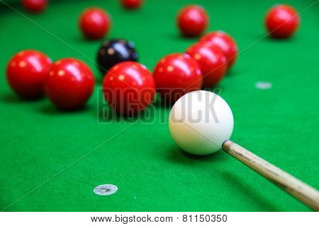 Snooker ball on snooker table, Snooker or Pool game on green table, International sport.